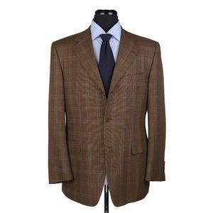 Canali Wool Sport Coat Brown w/Blue Checks 40R